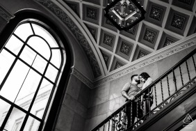 Austin TX indoor couple portrait | engagement photography in black-and-white