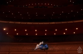 Phoenix couple portraits | indoor pre-wedding session at the theater in Arizona