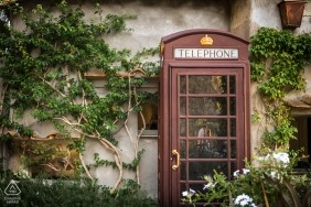 A Czech Republic phone booth is optimized during this engagement portrait session