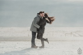 Winter engagement photo shoot in the freezing blowing snow | DC pre-wedding photographer
