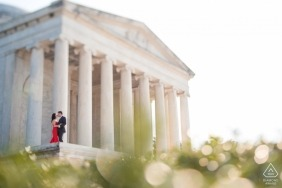 District of Columbia monumental portrait session in a red dress