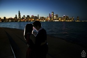 Minnesota engagement photography at the water with the city skyline