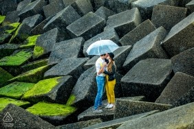 Portrait of couple at quarry rocks | Zuid Holland Engagement Photography, NL