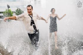 Seattle pre-wedding portraits in the public water fountain