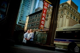 Chicago streets provide this couple with the urban backdrop needed for their engagement portrait