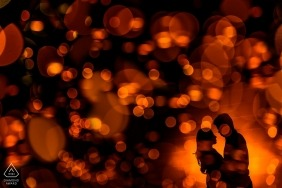 Burning bokeh of love | portraits of a couple before the wedding | creative and artistic silhouette