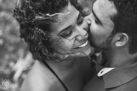 Rio de Janeiro engagement couple session - tight black and white portraits from a high camera angle