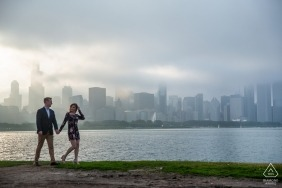 A walk next to the river in the afternoon sun along with the city's skyline behind make for a wonderful engagement portrait in Chicago.