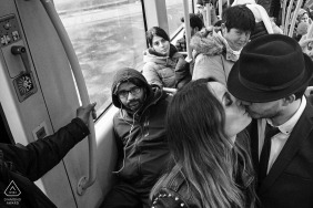 NYC subway bus urban portrait of engaged couple in the city