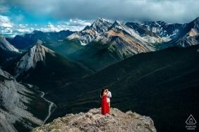 Canada PreWedding Portraits - Alberta bride in red dress for Engagement Photographer