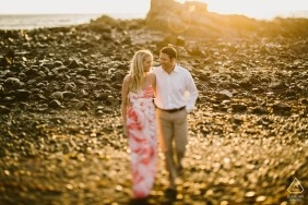 Massachusetts Engagement Photo Portrait of Couple Walking in the Sun