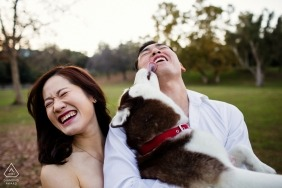 Couple pre-wedding engagement shoot with their dog | San Francisco portraits
