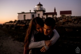 Washington engagement shoot of a couple with a lighthouse | Seattle photographer pre-wedding portrait session
