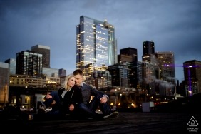 Urban, city skyline wedding photography engagement shoot | Seattle pre-wedding pictures