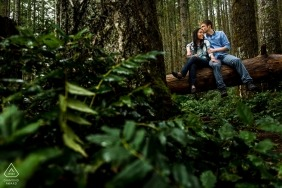 Forest wedding engagement shoot with a couple in the woods | Seattle pre-wedding photographer session