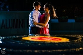 Night engagement portrait session at Wisconsin Memorial Union.