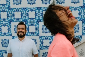 Brazil engagement shoot with a couple laughing in soft light outside  | Lisbon photographer pre-wedding session