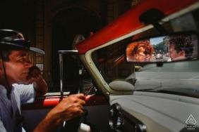 engagement portrait session in vintage car at havana cuba