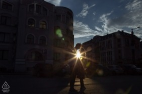 Russia engagement images of a couple in low afternoon sunshine | Chelyabinsk photographer pre-wedding session