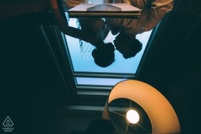 NY engagement pictures of a couple reflected | New York photographer pre-wedding photo session