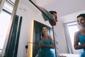 Indoor reflected pre-wedding engagement pictures of a couple | NYC portrait shoot