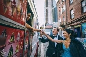 Ice cream truck wedding photographer | engagement portrait of a couple on the streets | New York City pre-wedding pictures