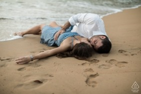 engagement portrait session on the sandy beach in french caribbean