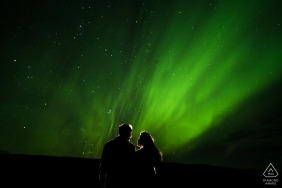 Mumbai engagement images of a couple with a green sky and stars  | India photographer pre-wedding session