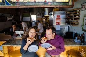 Foodie wedding engagement portrait of a couple eating | Boston pre-wedding pictures