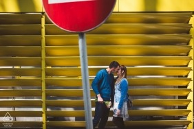 Ljubljana urban engagement portraits of a couple with street sign  | Slovenia photographer pre-wedding photographer pictures