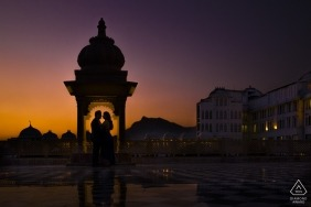 Udaipur couple captured at sunset by India Wedding Engagement Photographer