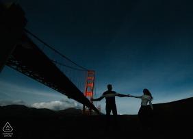 SF wedding photographer engagement portrait of a couple near the Golden Gate Bridge | pre-wedding pictures