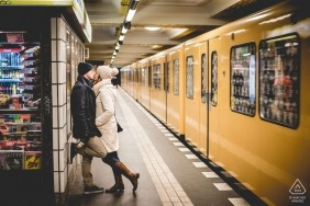 Engagement portrait of young couple in Berlin Tube subway