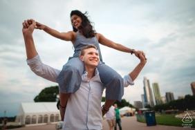 On his shoulders | wedding photographer engagement portrait of a couple | Washington DC pre-wedding pictures