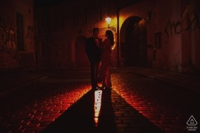Red Hot Prague Engagement Couple Photos | Kurt Vinion Prague Photographer
