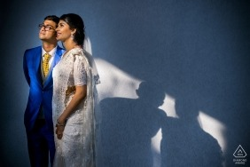 Kochi wedding engagement photography of a couple in good light with blue tones