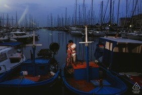 Destination wedding photographer Palermo Harbour engagement session photography with boats