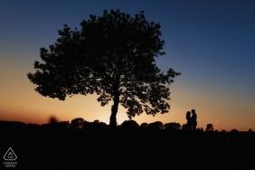 Londyńskie zdjęcia pary z ogromnym drzewem o zachodzie słońca autorstwa najlepszego fotografa zaręczynowego z Anglii