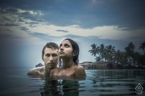 Engagement Photography portrait session of a couple in India waters of Kerala