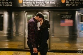 Subway engagement photo shoot in Manhattan, NYC