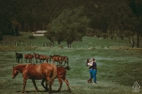 Vor-Hochzeitsportrait eines Paares von einem Fotografen in Kolumbien mit Horses Sotaquirá