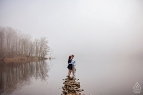 Wedding engagement photography by the foggy lake in Maryland by Baltimore engagement photographers