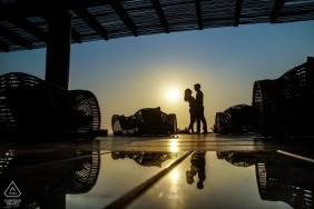 Portrait of silhouetted couple with bright sun by Jalisco Engagement Photographer
