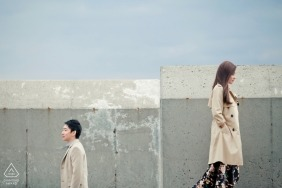 Malaysia urban concrete backdrop for wedding engagement photos for Malacca couples