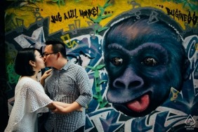 Street art wedding engagement photography in Ho Chi Minh by Vietnam engagement photographers