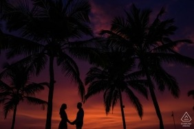 Prewedding engagement photography shoot in Goa with a red sky and dark palm trees