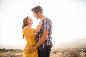 Engagement portrait in the sun by award winning Arizona wedding photographer