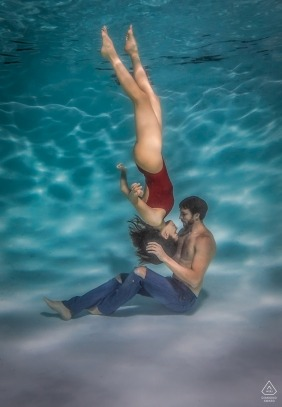 Underwater portrait of couple during a Las Vegas engagement photography session