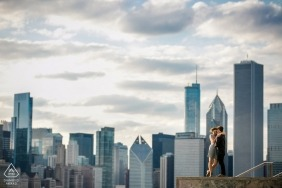 Illinois skyline wedding engagement pictures by Chicago portrait photographer