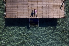 Izmir Pre-Wedding Photography portrait session on the pier of Cesme